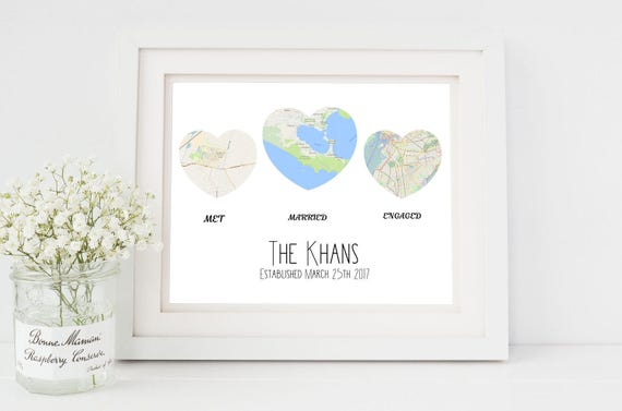 Personalised Wedding Map Gift Personalised Map Wedding Gift Etsy