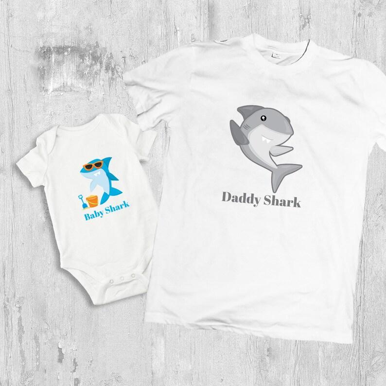 0b496796e15dc Daddy Shark baby Shark Shark t shirt dad and baby matching | Etsy