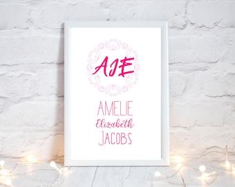 Baby girl pink monogram wall art, custom toddler initials print, personal monogram print for christening, Baby naming monogram personal gift