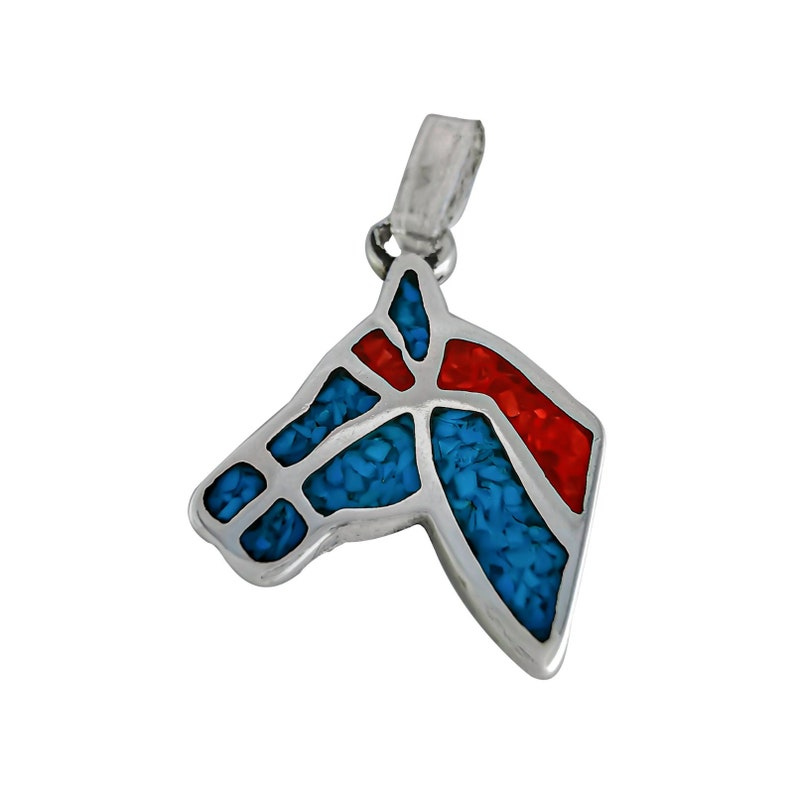 Sterling Silver Horse Mare Stallion pendant Southwestern Cowboy Turquoise Coral