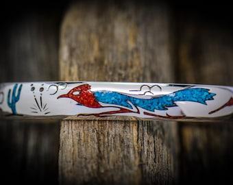 Sterling Silver, Turquoise & Coral Roadrunner Bracelet