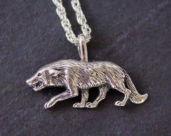 Sterling Silver growling Wolf Pendant