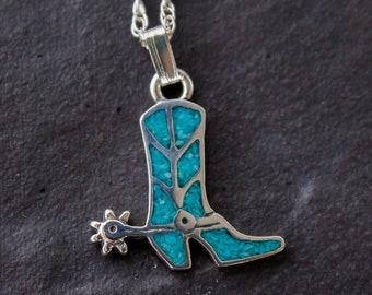 Southwestern Sterling Silver & Turquoise Chip Cowboy Boot Pendant