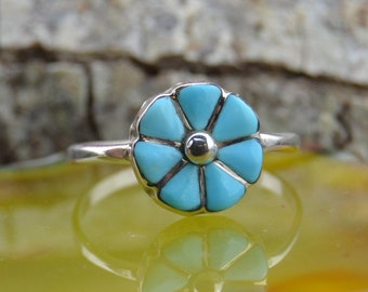 Zuni handmade sterling silver and turquoise flower ring