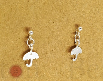Sterling Silver Tiny Umbrella Earrings Studs - Perfect Birthday Gift