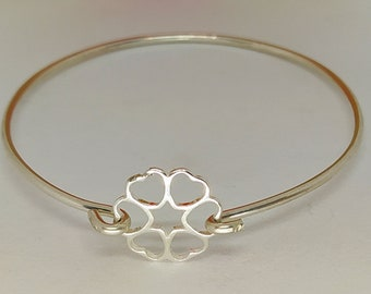 Handmade Baby Childs or Adults Solid Silver Flower shape Heart Charm Bangle