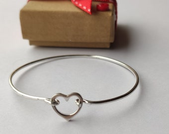 Handmade Baby Childs or Adults Solid Silver Heart Charm Bangle