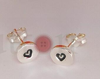 Handamde Circle Sterling Silver Earrings embossed, heart stamp,
