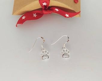 Sterling Silver Animal Paw Earrings Dangle Drop or Stud