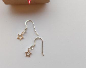 Sterling Silver Christmas Open Star Earrings Dangly Drop