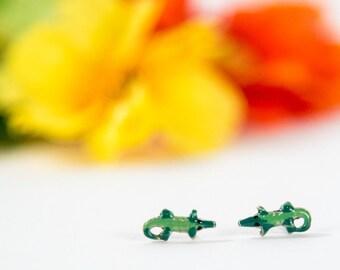 Sterling Silver Hand Painted Alligator Post Earrings, Animal Earrings, Reptile Earring, Miniature Post Earrings, Stud Earrings