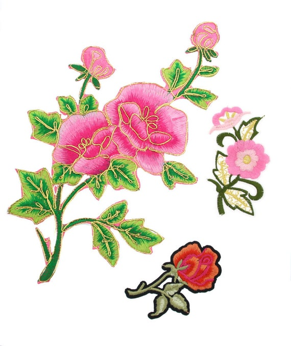Pair of Peach Pink Rose Patches Iron Sew On Embroidered Roses Flower Patch Badge