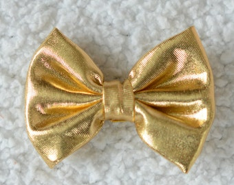 """2.75"""" Shiny Bow, Embellishment for Hair Bows and Headbands, DIY Hairbow Supplies, Hair Bow, Gold, Lot of 1 or 2"""