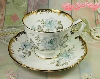 Aynsley Teacup & Matching Saucer, Vintage Aynsley White and Gold Teacup, Bridal Teacup, Wedding Teacup in Fine Bone China Bridal Shower Gift