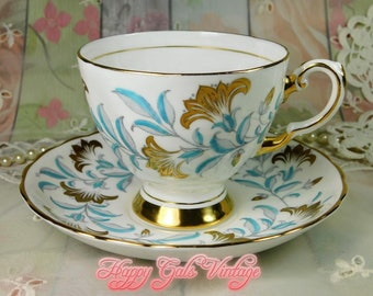 Tuscan Teacup & Matching Saucer from England, Vintage Blue and Gold Teacup by Tuscan of England, White, Blue and Gold Porcelain Teacup Gift