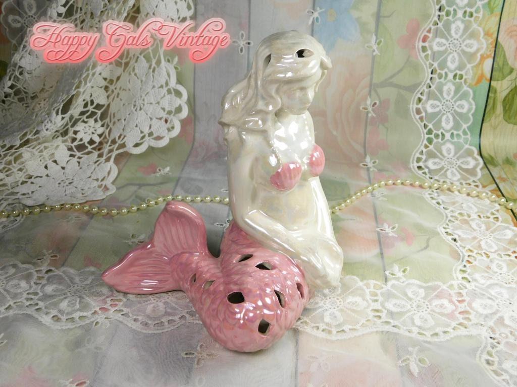 Ceramic Mermaid Figurine Gift Porcelain Mermaid Potpourri Holder Figurine Mermaid Potpourri Bags Holder Pink Lusterware Mermaid Figurine