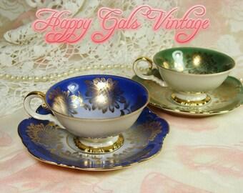 Demitasse Set of 2 / Bavarian Porcelain Demitasse Set of 2 / Green Demitasse / Blue Demitasse / Mini Teacups Set of 2 / Small Teacups