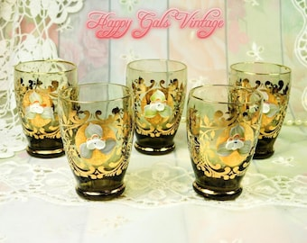 Shot Glasses Set of 5 with Gold Design and Hand Painted Flowers, Beautiful Smokey Brown and Gold Shot Glasses Set, Fancy Set of Shot Glasses