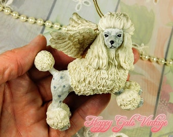 Poodle Angel Figurine Ornament in Sculpted Resin, Vintage Poodle Dog with Angel Wings Figurine Ornament, White Standard Poodle Ornament Gift