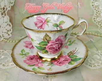 Pink Roses Teacup, Vintage Berkeley Rose Teacup & Saucer by Royal Stafford Vintage Bone China Porcelain Pink Roses Teacup from England Gift