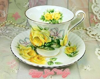 Royal Standard Yellow Roses Teacup and Saucer, Vintage Royal Standard Yellow Roses Bone China Teacup, Yellow Roses Porcelain Teacup Gift