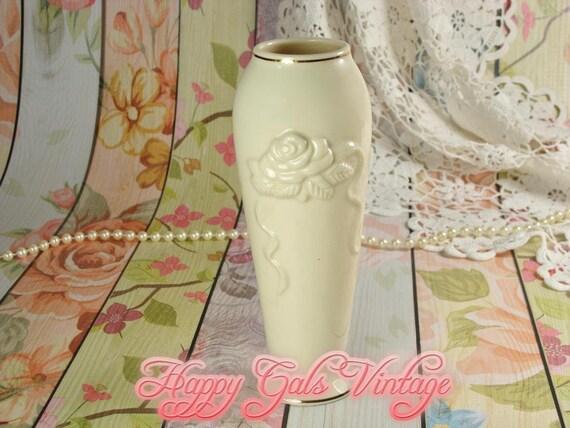 Lenox Ivory White Vase With Rose Relief Lenox White Vase Etsy