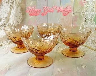 Dessert Cups in Amber Glass Set of Four, Small Round Glass Dessert Cups Footed with Textured Finish, Fancy Amber Colored Glasses Set of 4