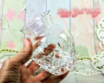Small Crystal Vase, Clear Leaded Crystal Vase, Vintage Crystal Glass Vase, Clear Crystal Vase, Fancy Cut Crystal Vase, Housewarming Gift
