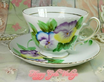 Pansy Teacup and Matching Saucer from Japan, Vintage Pansies Teacup, Hand Painted Teacup With Purple Pansy Flowers, Japanese Teacup Gift