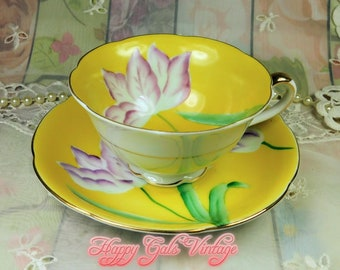 Yellow Teacup and Matching Saucer from Japan, Vintage Yellow Teacup, Hand Painted Yellow Teacup With Pink Lily Flowers, Japanese Teacup Gift