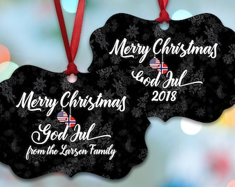 norwegian american bilingual holiday ornament free personalization christmas decoration merry christmas god jul norwegian christmas - Norwegian Christmas Decorations