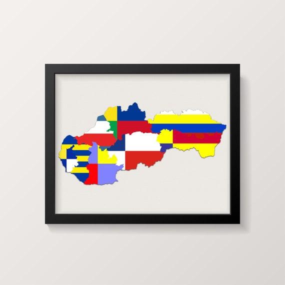 Slovakia Flags Print, Slovakia Map Print, Slovakia, Slovak Print, Slovakian  Flags, Kraje Slovenska, Slovak Poster Print, Slovakian Print