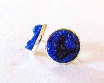 faux druzy earrings- blue ( blue druzy earrings, druzy studs, blue druzy studs)