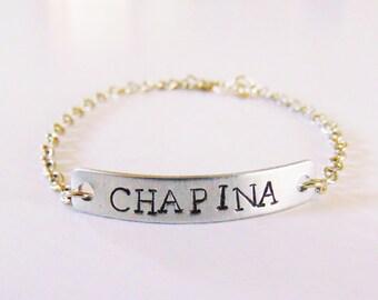 Chapina childhood bracelet-silver and gold tone (guatemala, guatemalan bracelet, latinx. chapin)