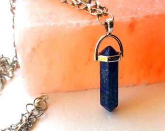 crystal point necklace- lapis quartz (lapis necklace, crystal quartz necklace, blue crystal, chakra crystal, gemstone necklace)