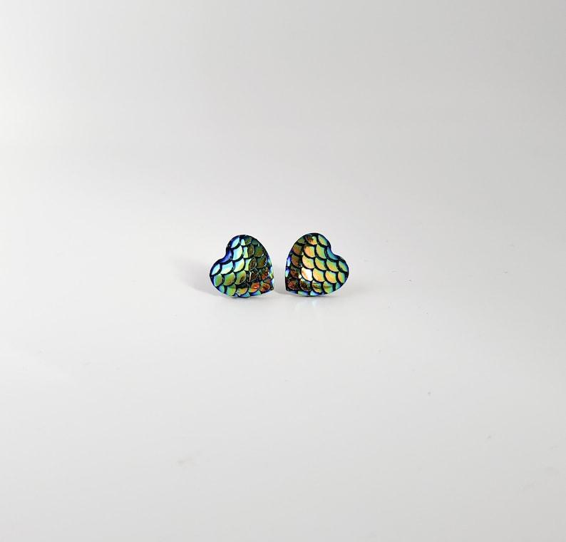 mermaid heart earrings-chrome mermaid post, mermaid studs, chromatic mermaid earrings, blue green mermaid, fish scales, dragon scales