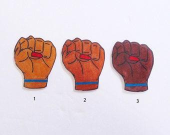 Power fist pin (power lapel, black power pin, brown power pin, feminist pin, social justice pin, solidarity pins)