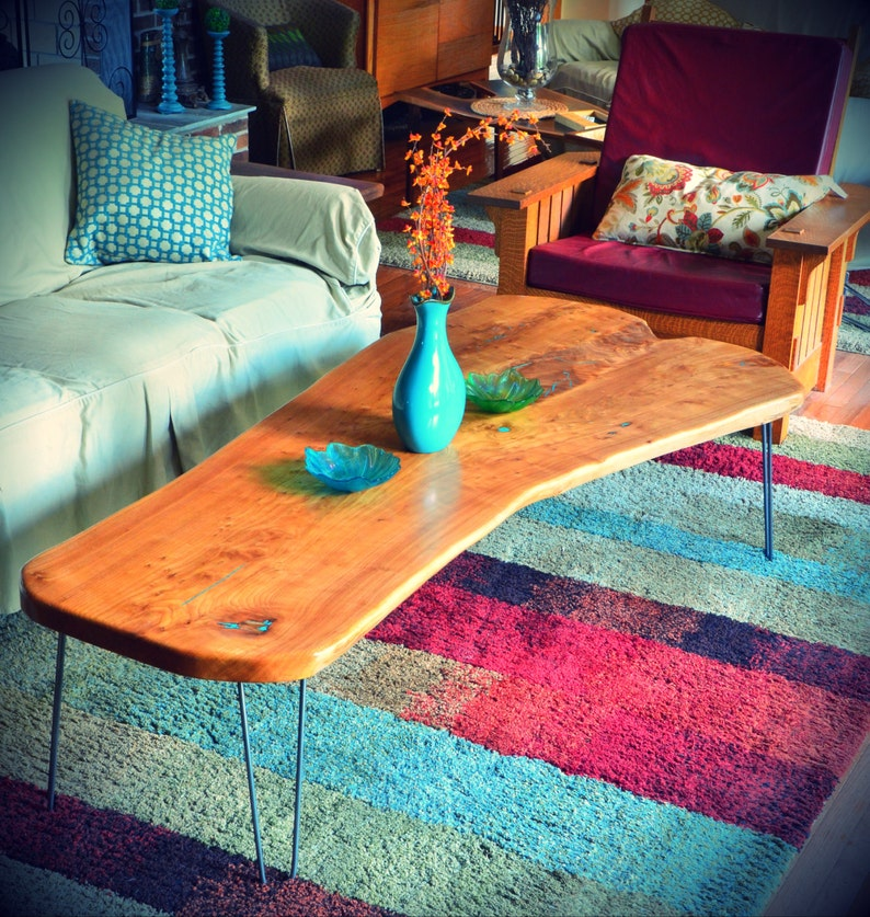 Natural Edge Slab American Elm Coffee Table With Turquoise image 0