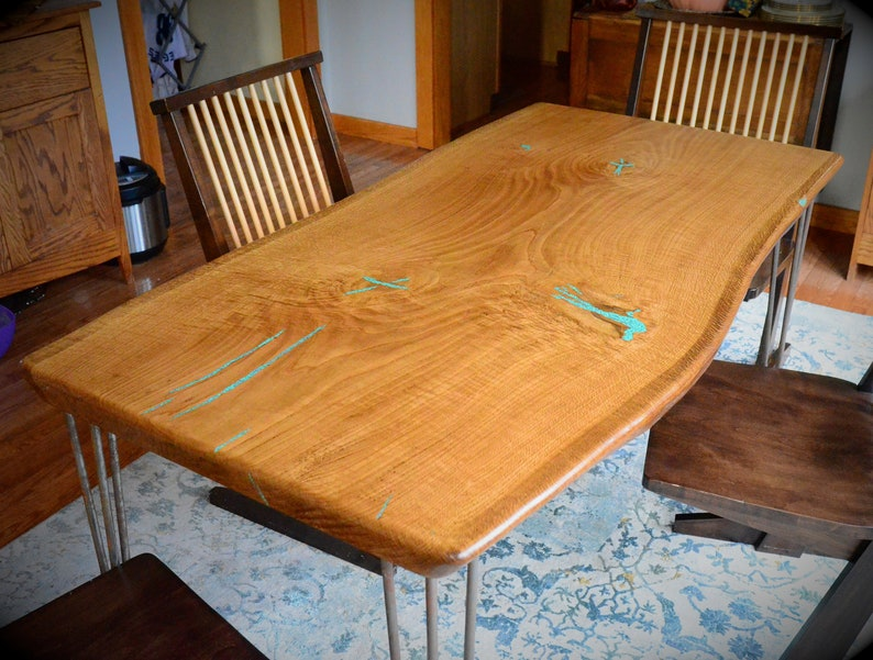 Natural Edge Slab White Oak Dining Table With Turquoise lnlay image 0