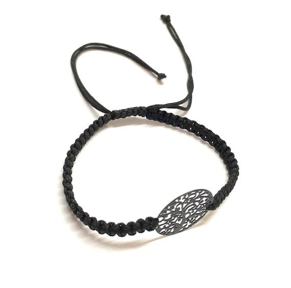 Black Nylon Cord Bracelet Tree of Life Friendship Bracelet