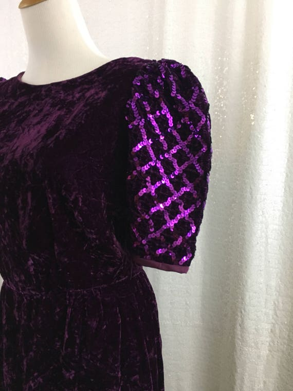 Purple velvet dress with sequence sleeves