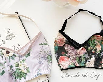 Jasmine Bra Bralette Beginner PDF Lingerie Sewing Pattern Large and Standard Cup Sizes XS-2XL
