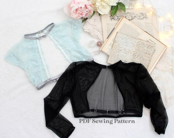 Lingerie Shrug Sewing Pattern   Lilith Vest Shrug   Sexy Strappy Layering Vest PDF Pattern