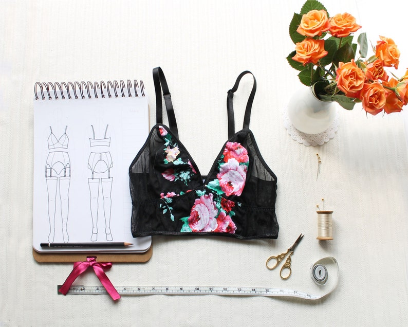 Longline Bralette Sewing Pattern Ohhh Lulu 1404 Cropped Cami image 0