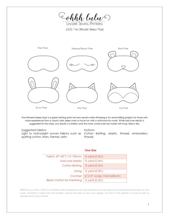 The Ultimate Sleep Mask Sewing Pattern and Tutorial | Etsy