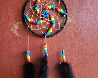 Black dreamcatcher with rainbow spiral bead design