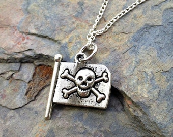 Pirate Flag with Skull and Crossbones Necklace - Antique Silver Jewelry - NEW