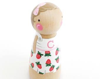 "CUSTOM peg doll - 3 1/2"" birthday cake topper peg doll // custom peg dolls // wooden dolls // personalized"