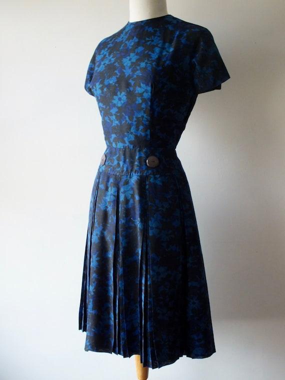50s blue cotton day dress + Vintage short floral … - image 1