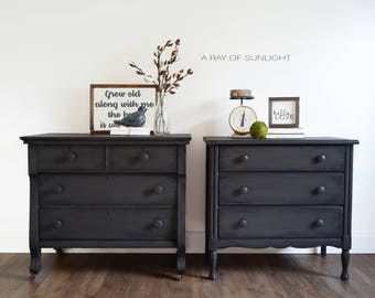 SOLD Pair of Nightstands - Large Farmhouse Rustic Tables - Matching Antique Dressers - Vintage Furniture - Small Dresser - Painted Furniture
